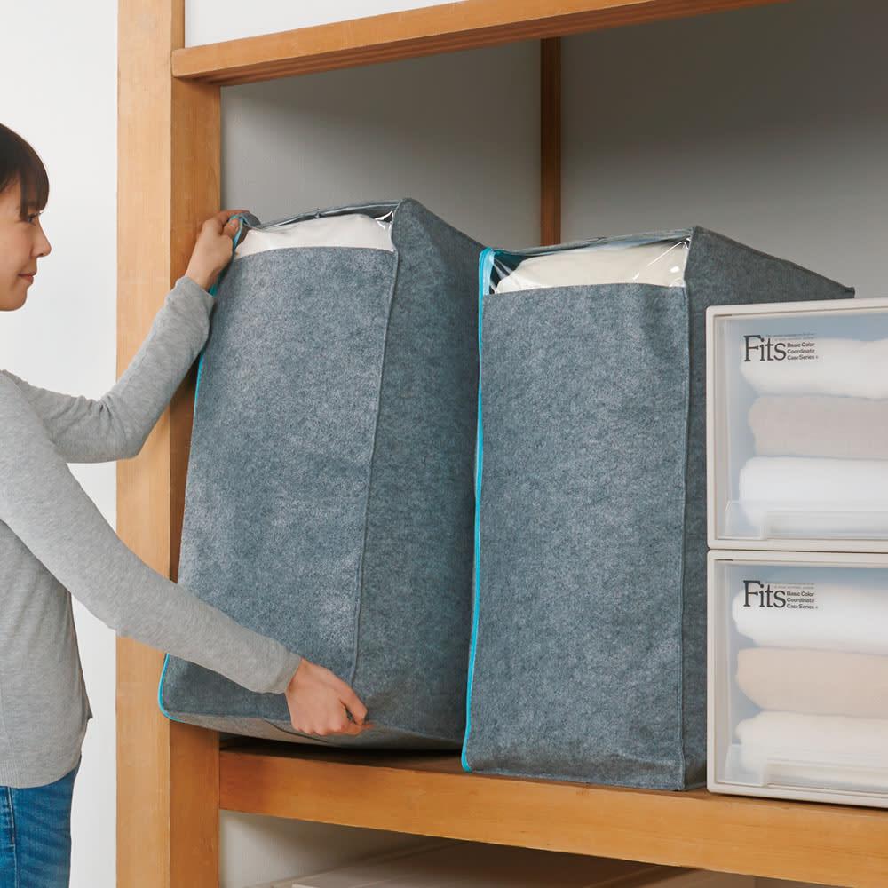 吸湿・消臭AirJob(R)布団収納袋 お得な2個組 大 グレー