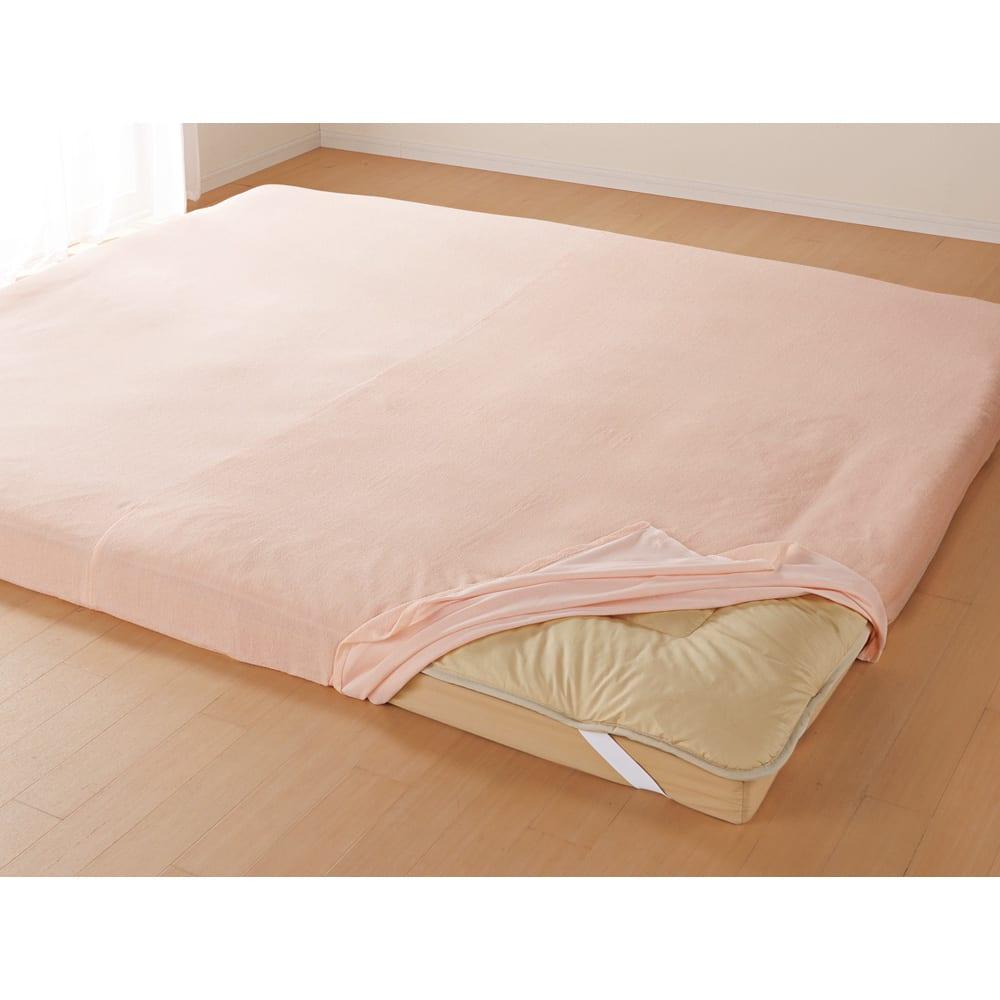 片ポケット式で着脱が簡単パイルシーツ ファミリー240用 ピンク/クリーム 敷布団カバー・布団シーツ
