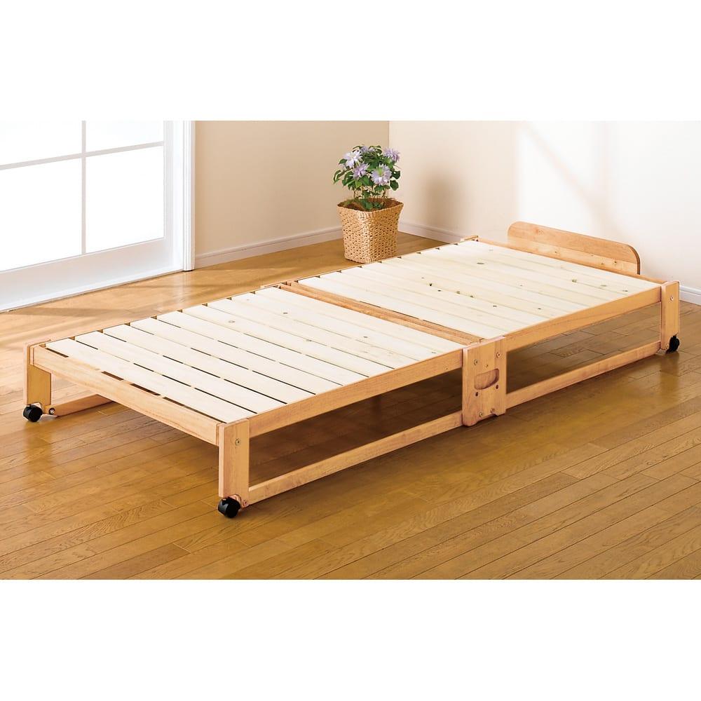 折りたたみ式ひのきすのこベッド ワイドシングル 床面高さ23.5cm (ア)ライトブラウン ※写真はシングルタイプです。