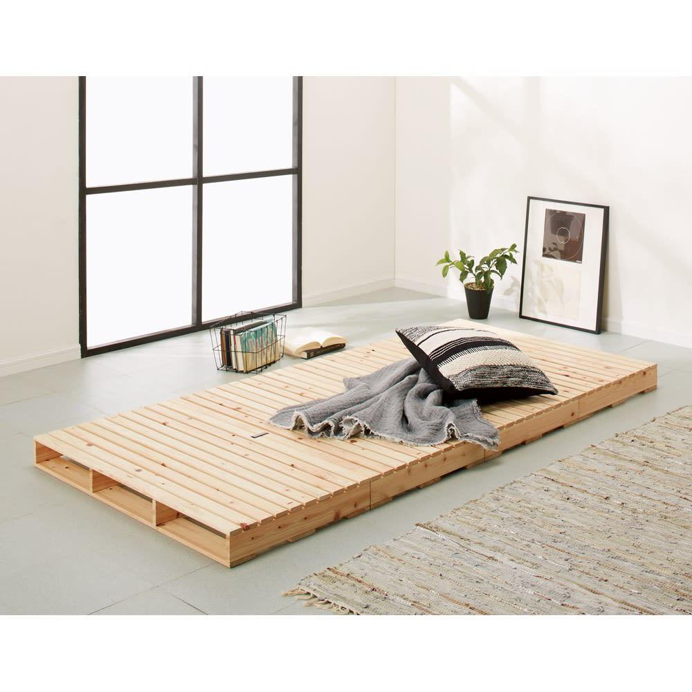 ベッド 寝具 布団 ベッドフレーム 模様替えが簡単にできる!国産ひのき頑丈パレットベッド(細すのこ4枚セット) 566429
