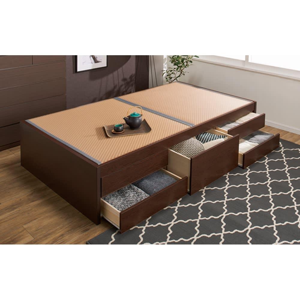 美草畳収納付きベッド 棚なし (イ)ブラウン ※写真はセミダブルサイズです。