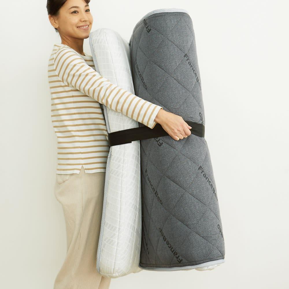 折りたたみできる薄型 高密度連続スプリングマットレス レギュラー シングル 軽くて持ち運びもラク。干すのもラクちんです。