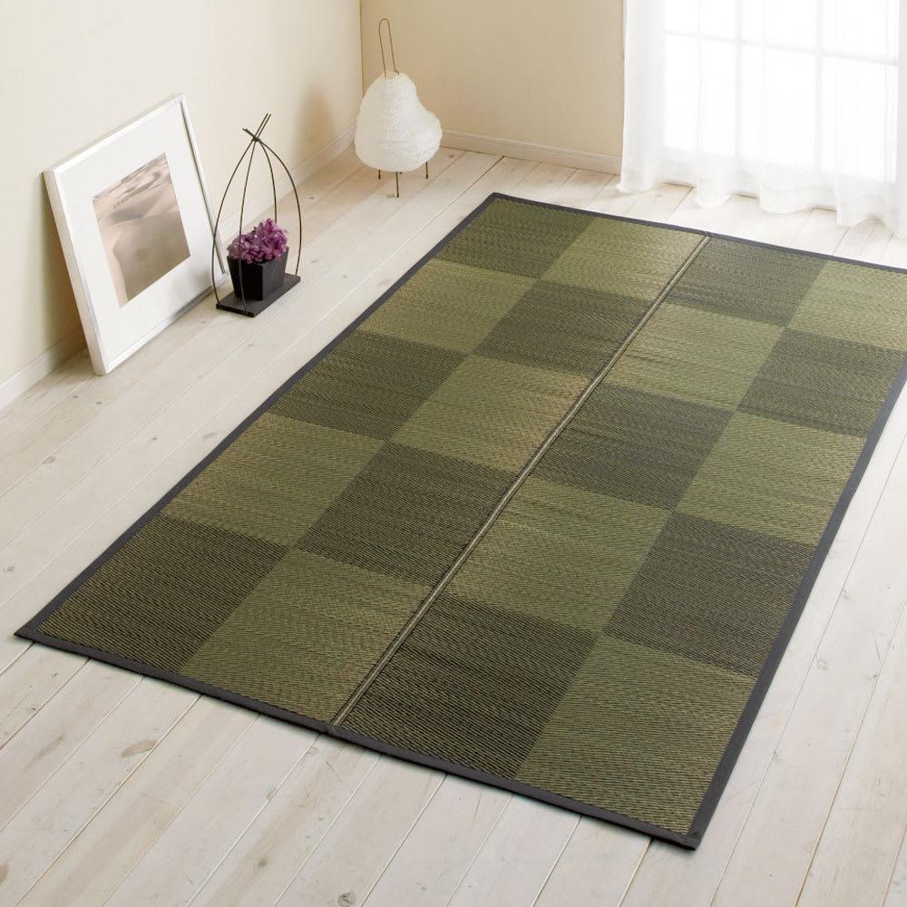 い草ラグ「ノア」(裏なし/裏付き/ふっくら) (ウ)ブラック ※写真はラグ約140×200cmタイプです。
