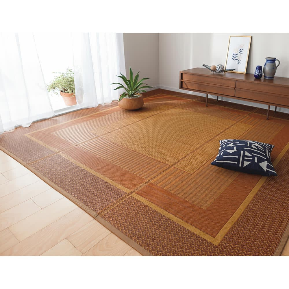 紋織りい草上敷き裏付き・細べり〈ランクス〉 (イ)ベージュ系 ※写真は約261×261cmタイプです。