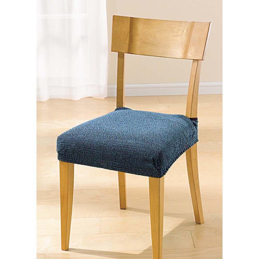 スペイン製はっ水フィットカバー[サマンサ] チェア座面カバー(同色2枚組) (エ)ブルー系 ※お届けは同色2枚組です。