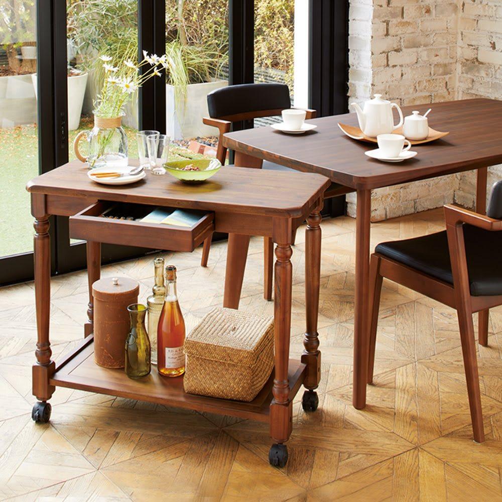 家具 収納 テーブル 机 サイドテーブル ナイトテーブル ナチュラルヴィンテージ調シリーズ サイドワゴン 568423