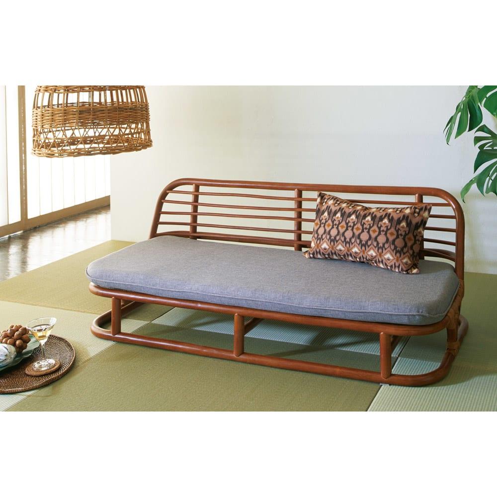 家具 収納 ソファー 2人掛けソファー ラブソファー ラタン座椅子ソファシリーズ ソファ 幅120cm 568504