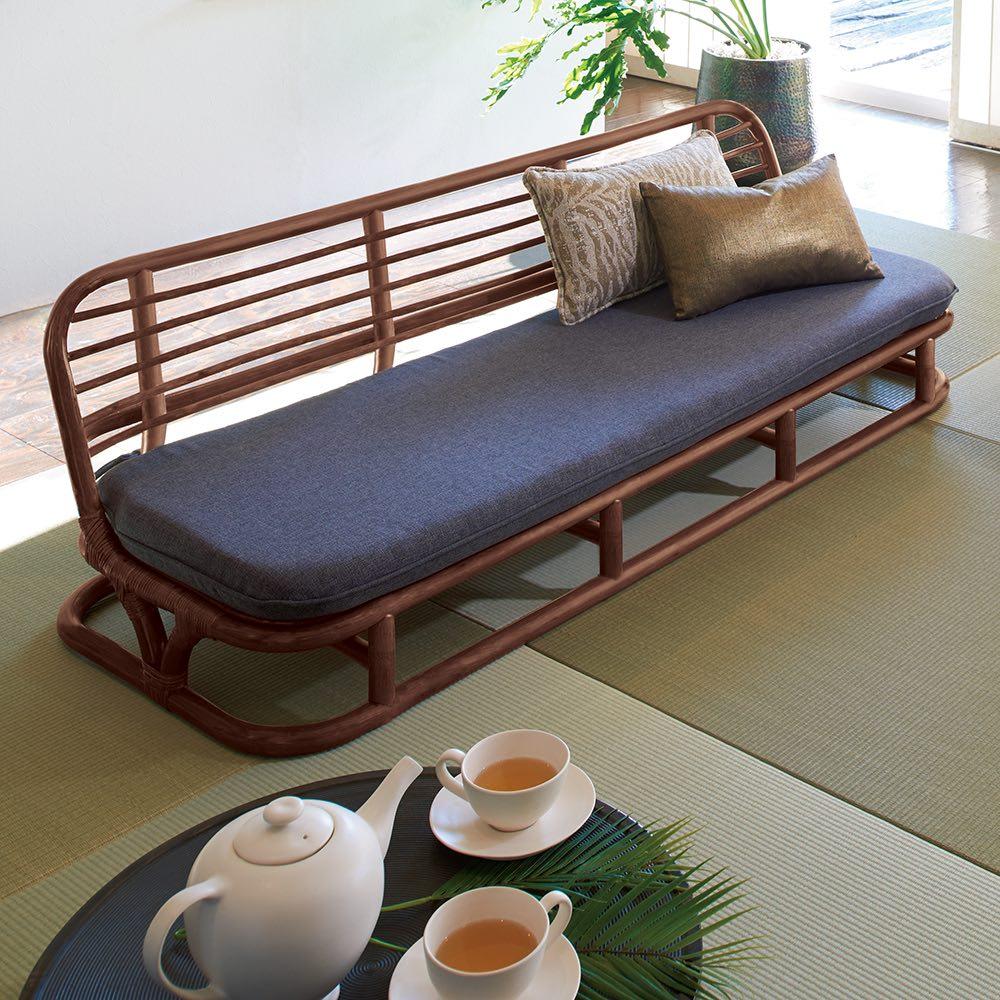 ラタン座椅子ソファシリーズ ソファ 幅140cm (ア)ダークグレー