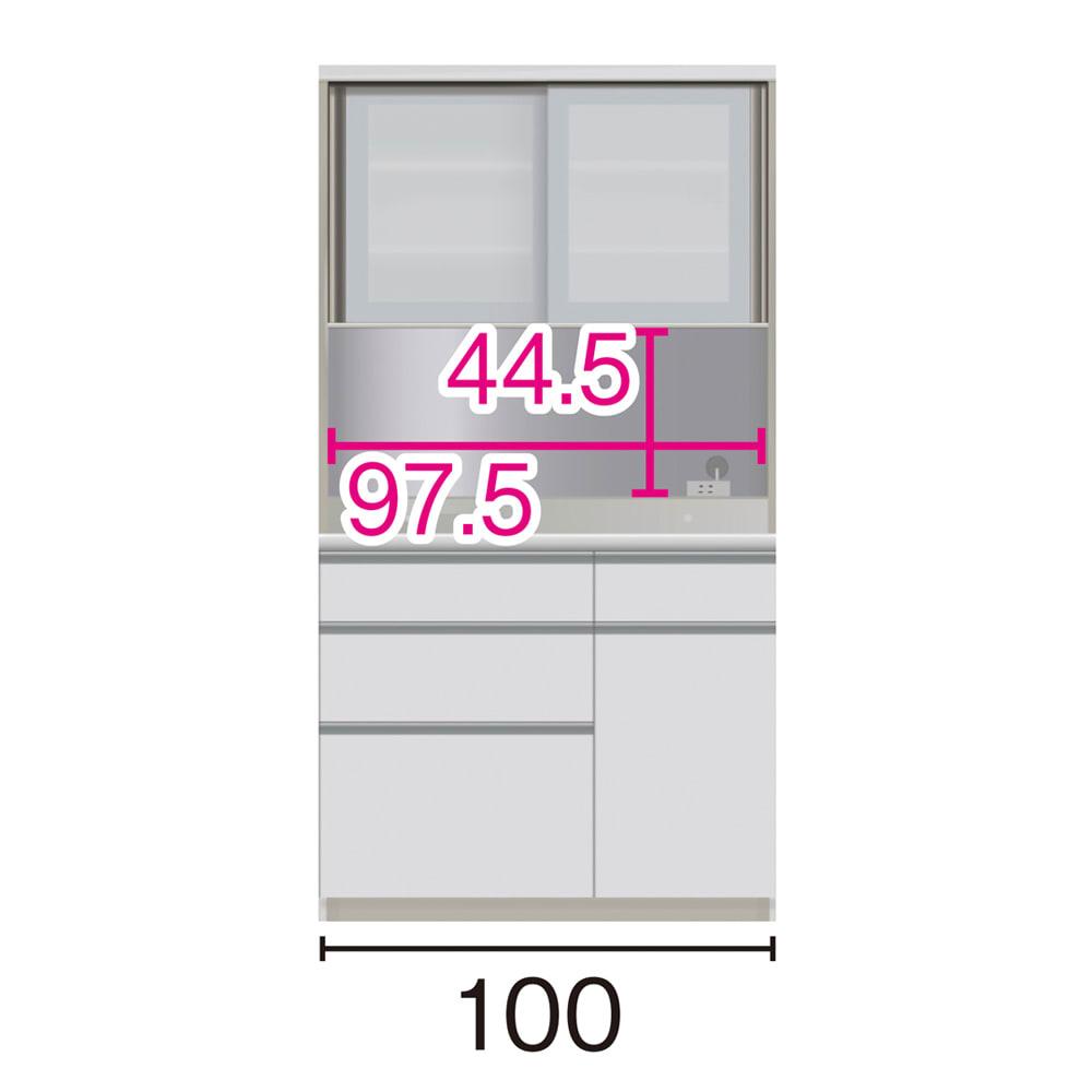 サイズが豊富な高機能シリーズ ダイニング深引き出し 幅100奥行45高さ187cm/パモウナ JZA-S1000R ※赤文字は内寸、黒文字は外寸表示です。(単位:cm) オープン部奥行40.5cm