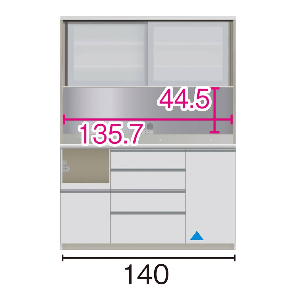 サイズが豊富な高機能シリーズ ダイニング家電収納 幅140奥行50高さ187cm/パモウナ JZL-1400R JZR-1400R (イ)家電収納の位置:左 ※赤文字は内寸、黒文字は外寸表示です。(単位:cm) オープン部奥行46 スライドテーブル部幅34.5高さ28.9奥行44cm ▲部分の収納部は開き扉です。
