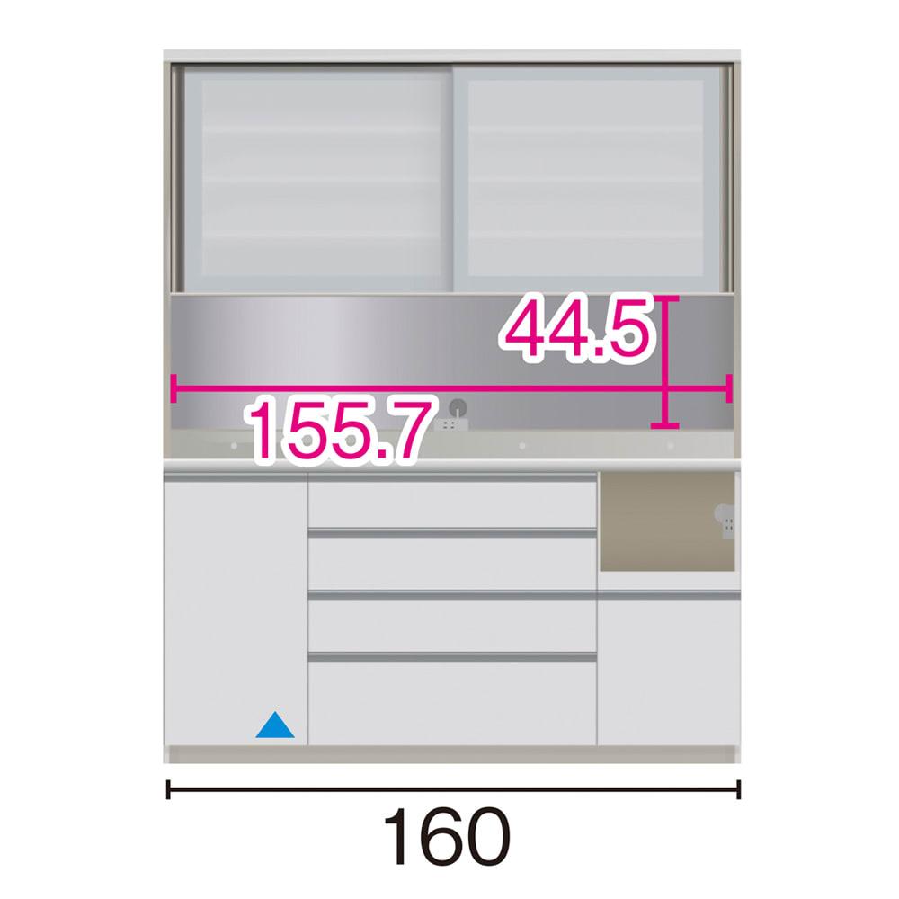 サイズが豊富な高機能シリーズ ダイニング家電収納 幅160奥行45高さ198cm/パモウナ VZL-S1600R VZR-S1600R (ア)家電収納の位置:右 ※赤文字は内寸、黒文字は外寸表示です。(単位:cm) オープン部奥行40.5 スライドテーブル部幅34.5高さ28.9奥行38cm ▲部分の収納部は開扉です。
