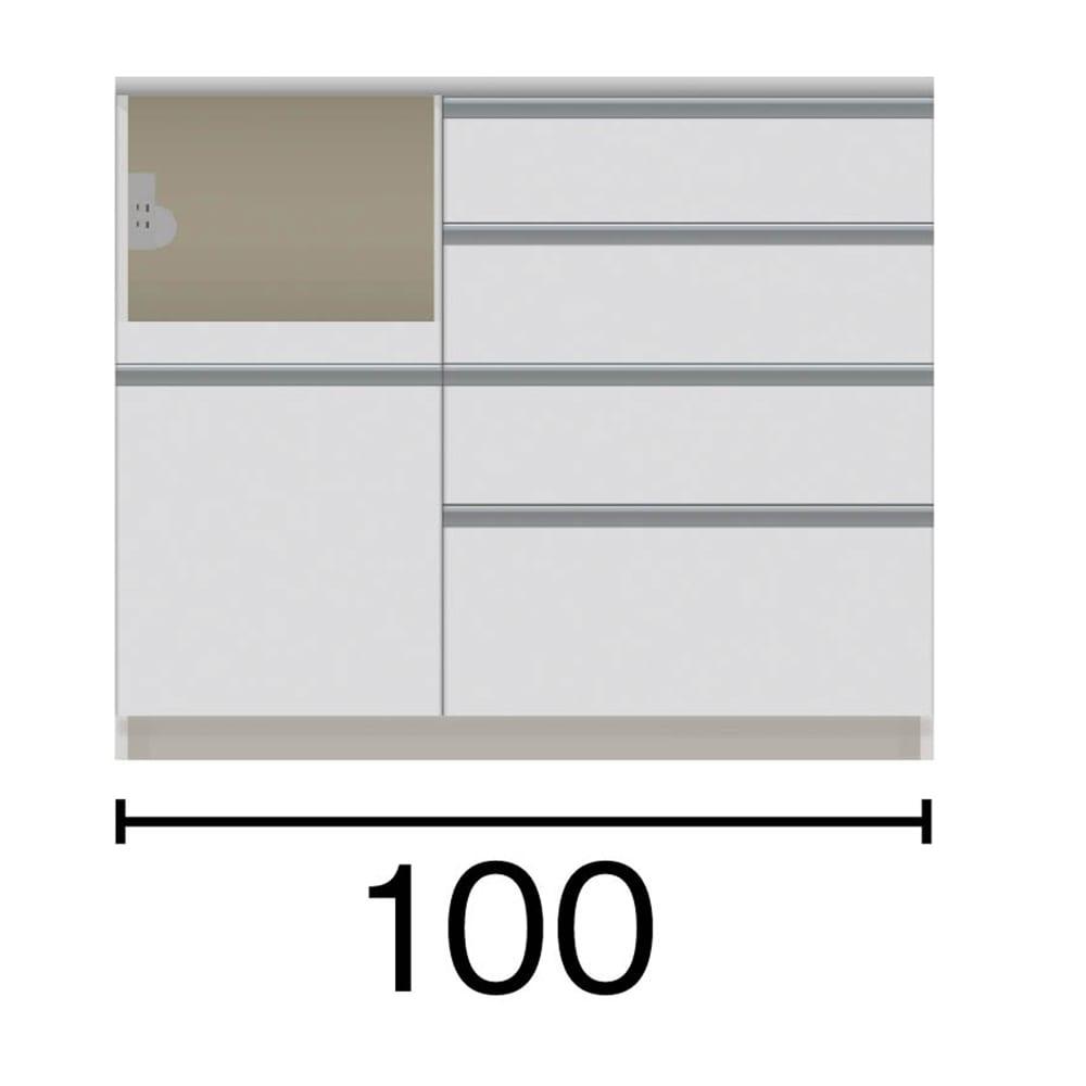 サイズが豊富な高機能シリーズ カウンター家電収納 幅100奥行45高さ84.8cm/パモウナ VZR-S-1000R VZL-S-1000R 家電収納部の位置:(イ)左 ※黒文字は外寸表示です。(単位:cm)オープン部奥行40.5 スライドテーブル部幅34.5高さ28.9奥行38cm