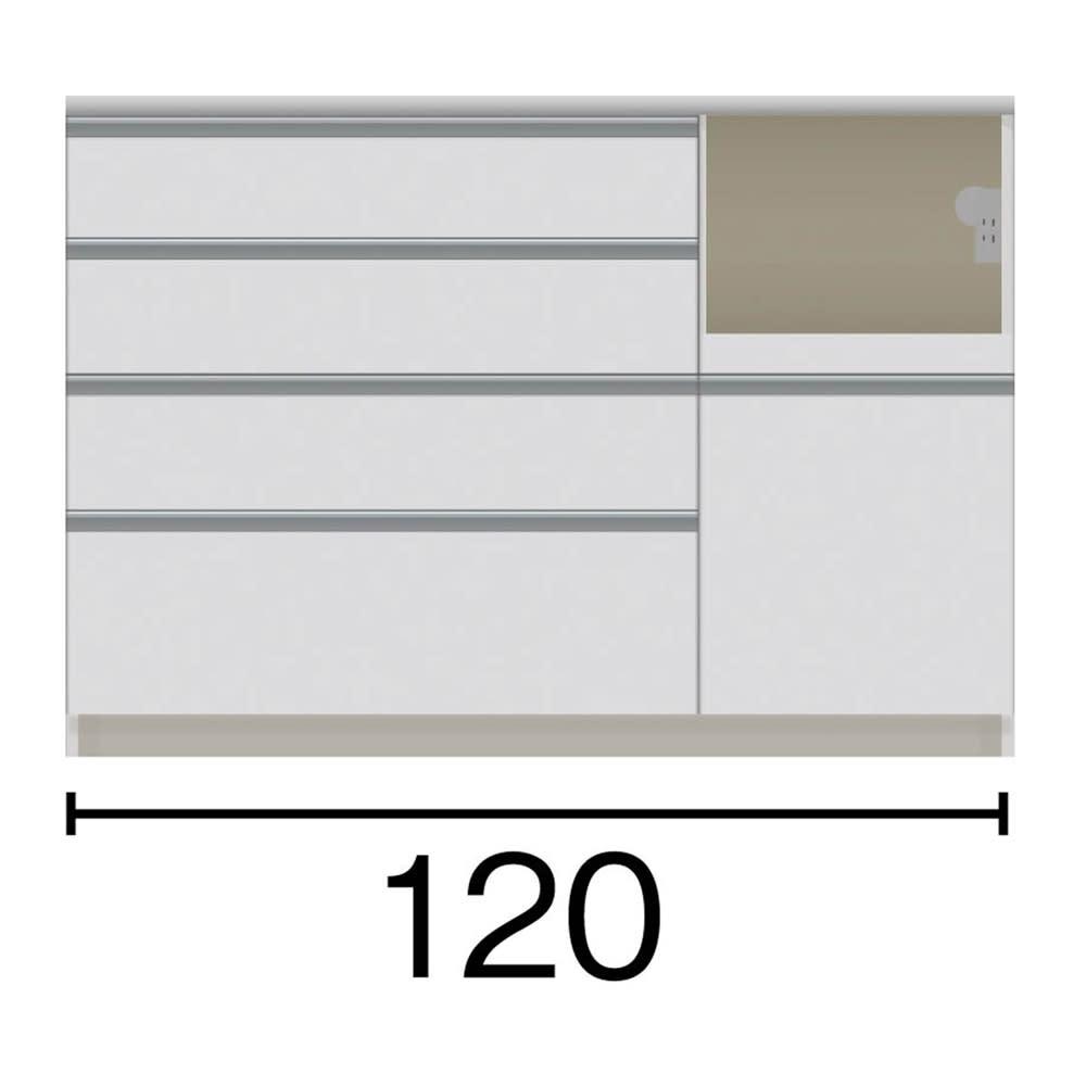 サイズが豊富な高機能シリーズ カウンター家電収納 幅120奥行45高さ84.8cm 家電収納部の位置:(ア)右 黒文字は外寸表示です。(単位:cm)オープン部奥行40.5 スライドテーブル部幅34.5高さ28.9奥行38cm