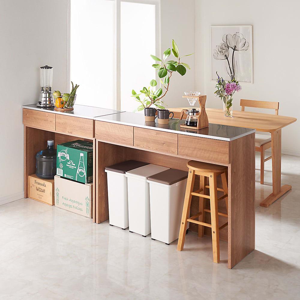 家具 収納 キッチン収納 食器棚 レンジ台 レンジラック キッチンラック ステンレストップ間仕切りカウンター 幅89cm 569304