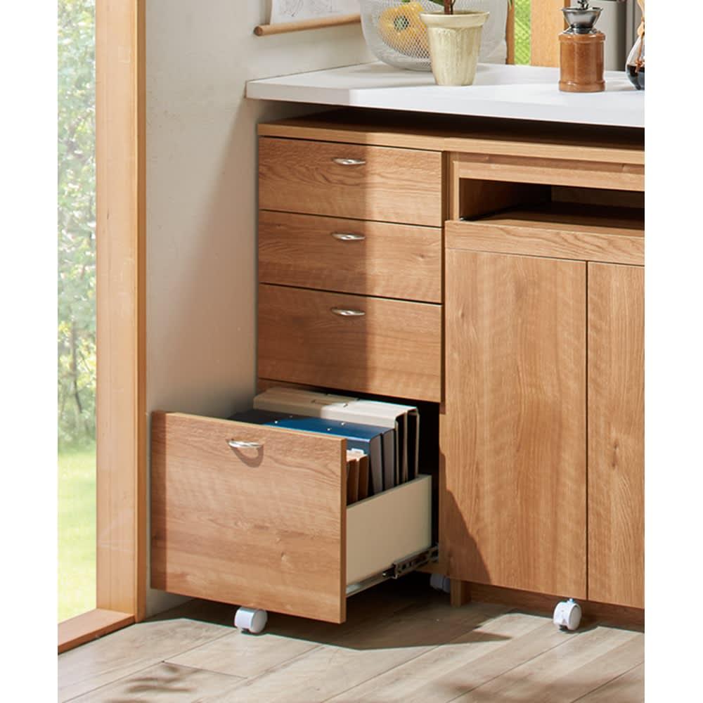 スライドテーブル付きカウンター下収納庫シリーズ チェスト幅41.7cm (イ)ブラウン