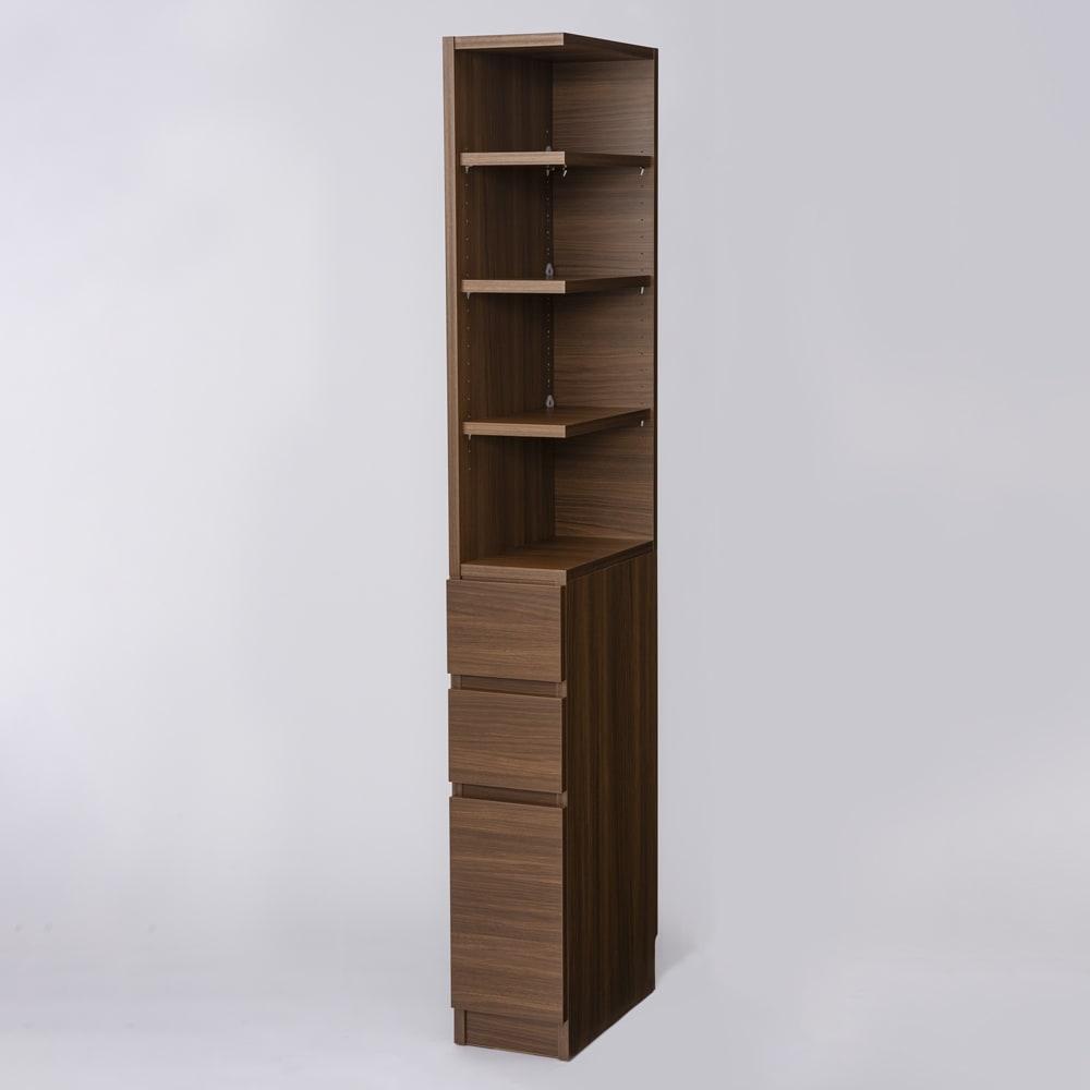 幅が1cm単位でオーダーできる2面オープンすき間収納庫 奥行45cm 幅20~24cm (オ)ブラックウォルナット キッチンのわずかなすき間にフィットする幅オーダー収納庫。 ※写真は幅22cm奥行45cm・右オープンです。