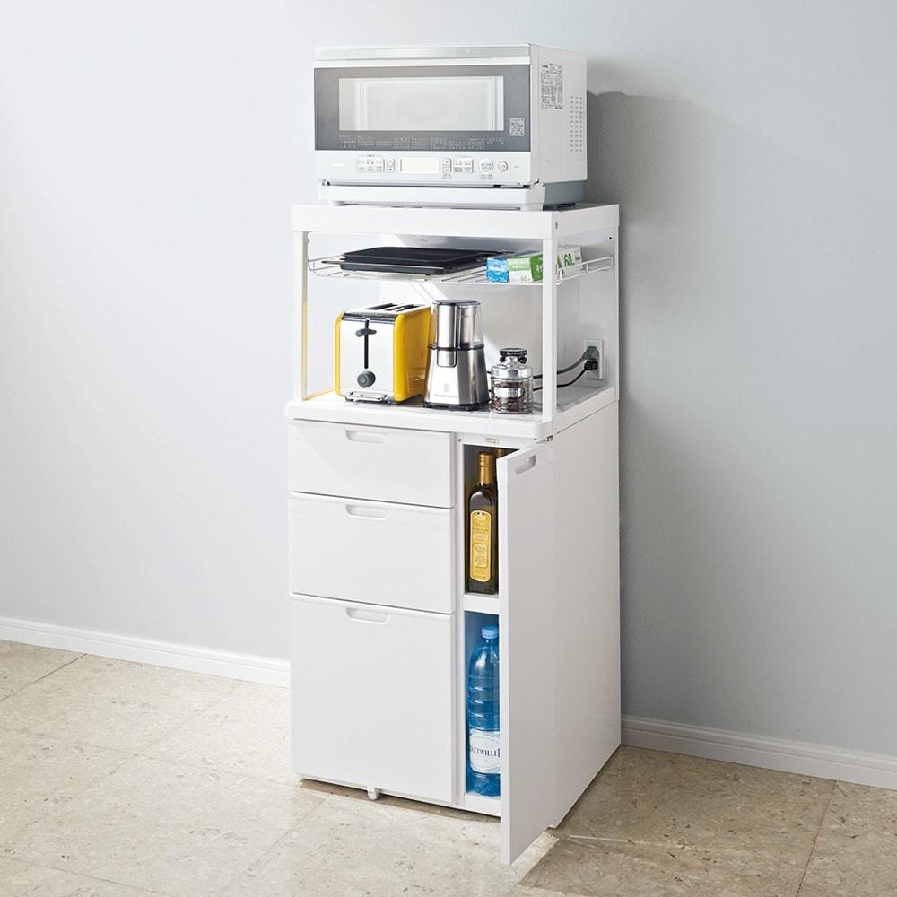 家具 収納 キッチン収納 食器棚 レンジ台 レンジラック キッチンラック 引き出しが充実!スライドテーブル付きレンジ台 収納庫ロータイプ 570032
