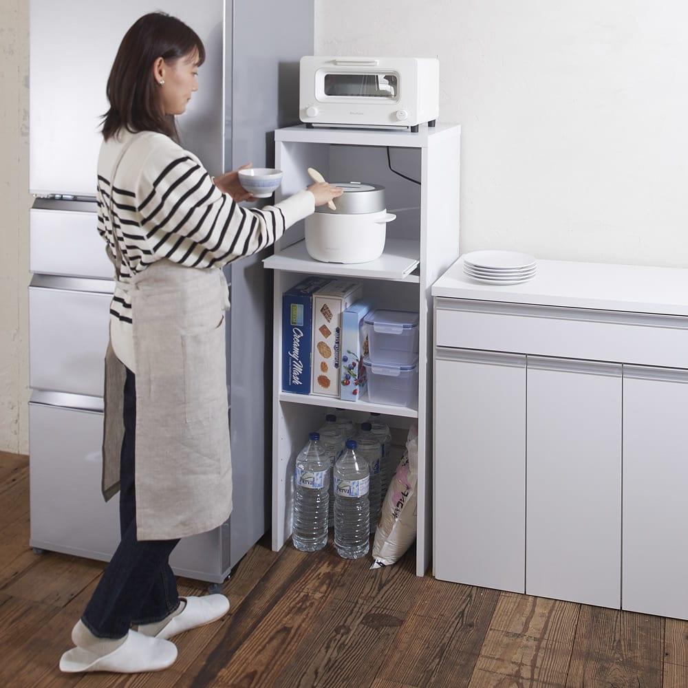 家具 収納 キッチン収納 食器棚 レンジ台 レンジラック キッチンラック ゴミ箱上が活用できる家電オープンラック 幅44cm 570101