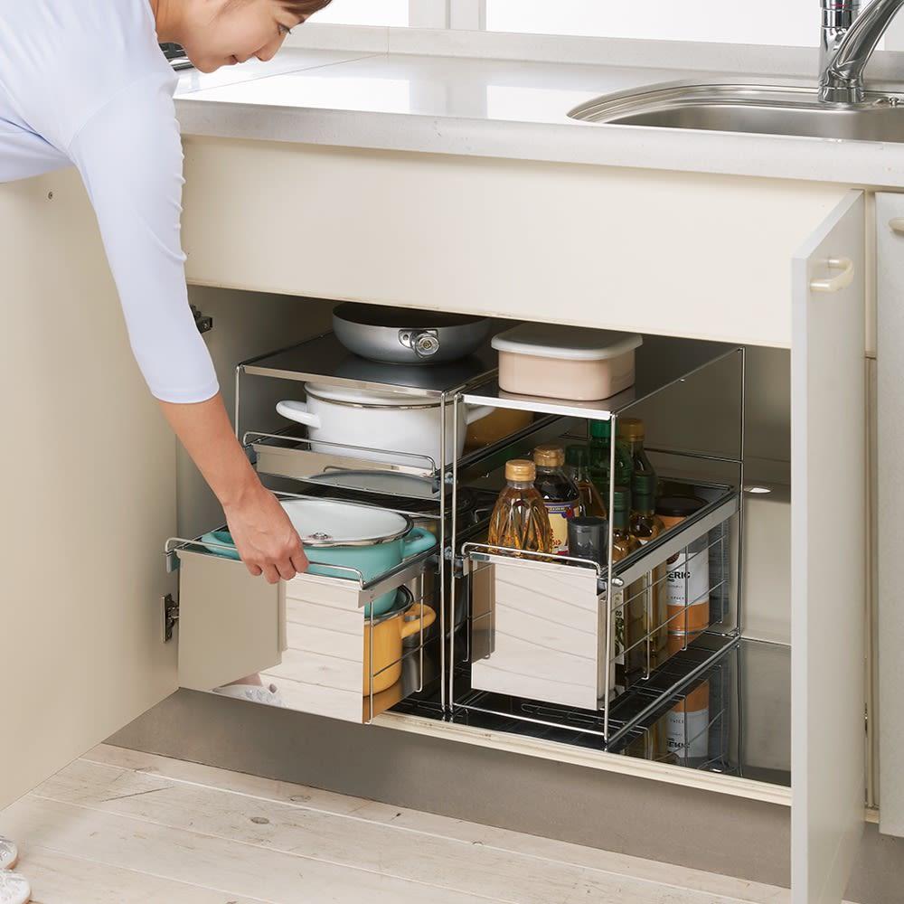 キッチン 家電 キッチン収納 水切り キッチン小物収納 ステンレス製スムーズ引き出しラック 1段 幅20cm 570229
