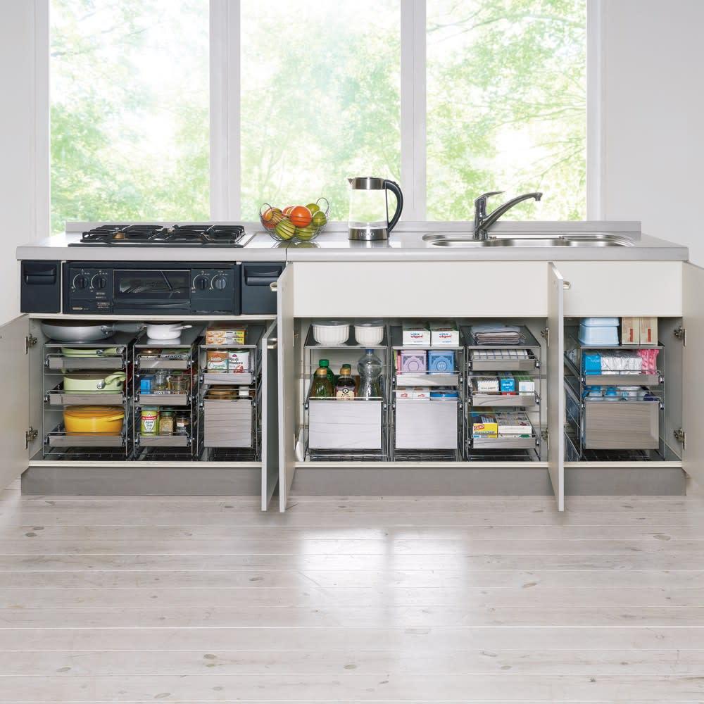 家具 収納 キッチン収納 食器棚 キッチン隙間収納 ステンレス製スムーズ引き出しラック 3段 幅28.6cm 570237