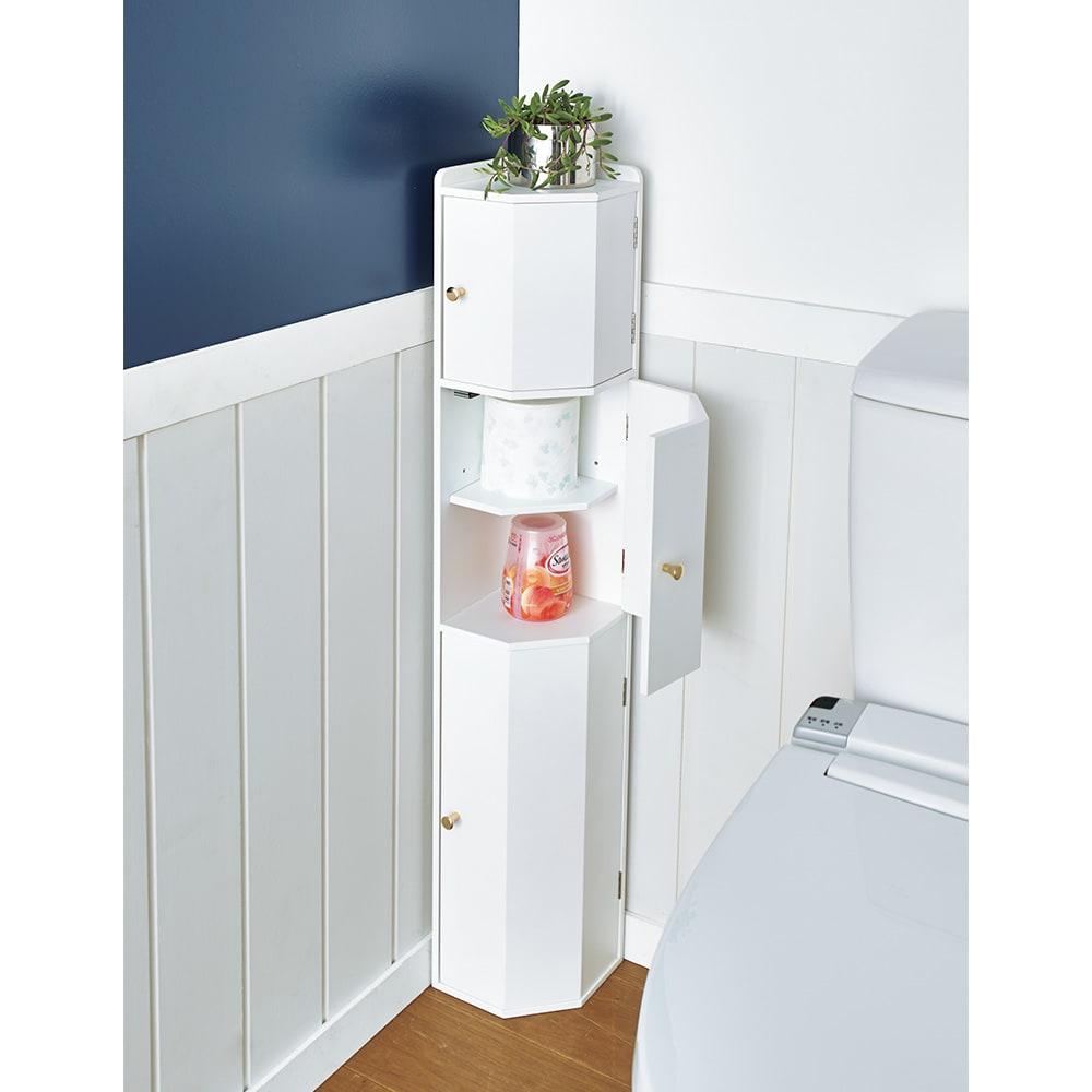 トイレコーナーラック 上部ゴミ箱付き 高さ100cm コーディネート例(ア)ホワイト