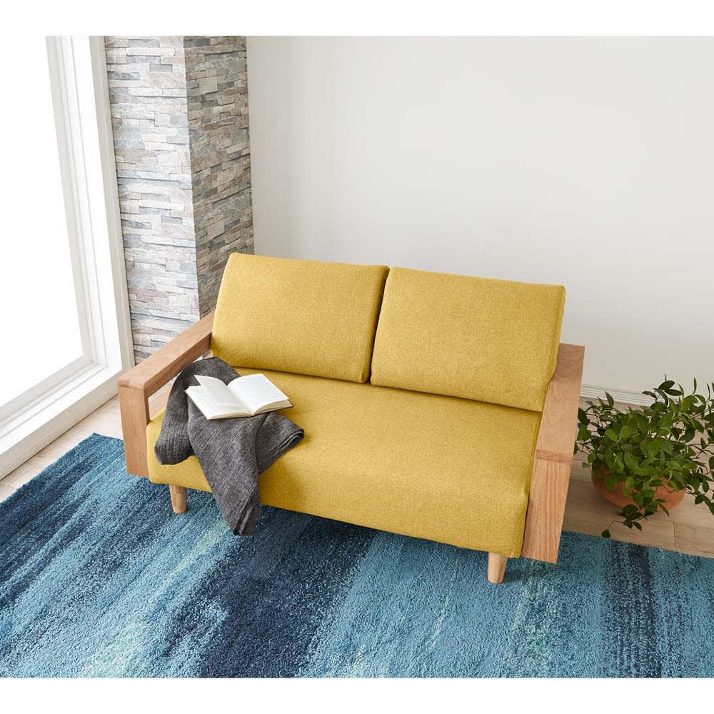 家具 収納 ソファー 2人掛けソファー ラブソファー 高さが調節できる北欧デザイン天然木カバーリングソファ 幅140cm(2人掛け) 570901