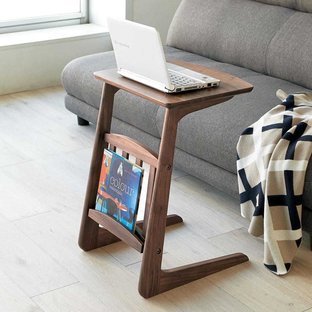 カフェ風天然木ソファサイドテーブル 幅40cm ダークブラウン/ナチュラル サイドテーブル・ナイトテーブル