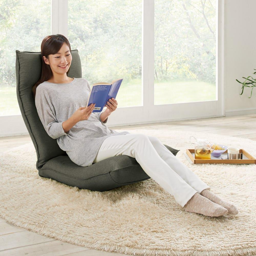 サイズを選べる 腰にやさしいリラックスチェアⅢ 洗えるカバー付き 長時間座っても疲れにくい!心地よくフィットするラクラク座椅子。 (ア)ダークグレー ※モデル身長:160cm ※写真はLサイズです。