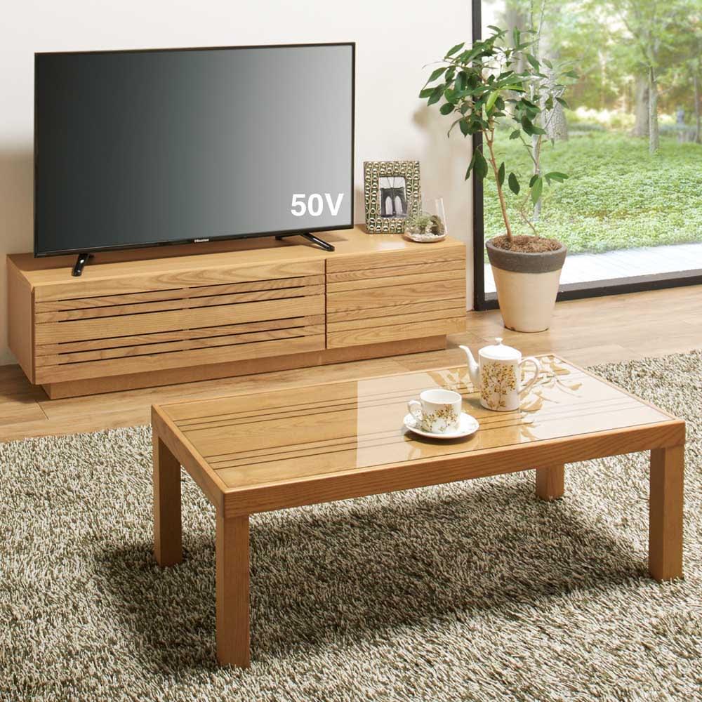 天然木無垢材のテレビ台・テレビボード アッシュ天然木 幅150cm コーディネート例 ※お届けはテレビ台幅150cmです。