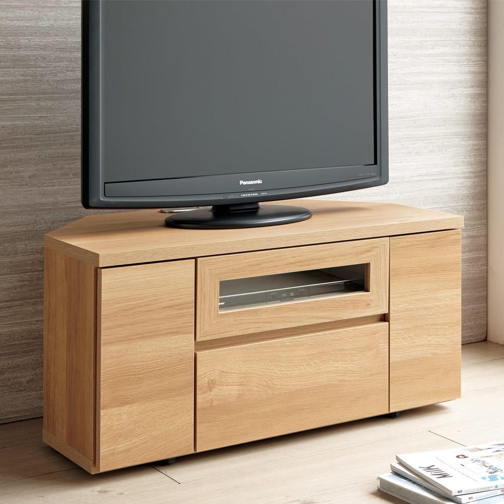 天然木調お掃除がしやすいコーナーテレビ台・テレビボード 幅90cm (イ)ナチュラル