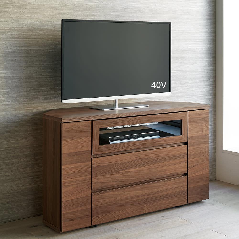 天然木調お掃除がしやすいコーナーテレビ台・テレビボード ハイタイプ 幅120cm (ア)ダークブラウン