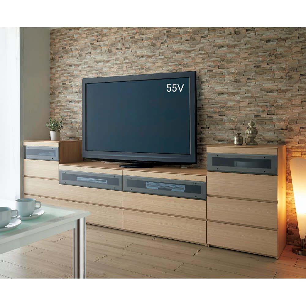パモウナGV-180 ダイニングからシアターリビングシリーズ テレビ台・テレビボード 幅180cm 使用イメージ(イ)ナチュラル ※お届けはテレビ台幅180cmです。