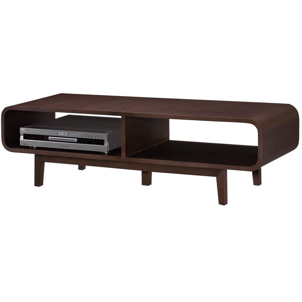 曲面加工のラウンドシェルフシリーズ テレビ台・テレビボード 1段2連 幅120cm 高さ34cm脚付きタイプ オープン部は内寸幅57cmあり、デッキも収納できます。