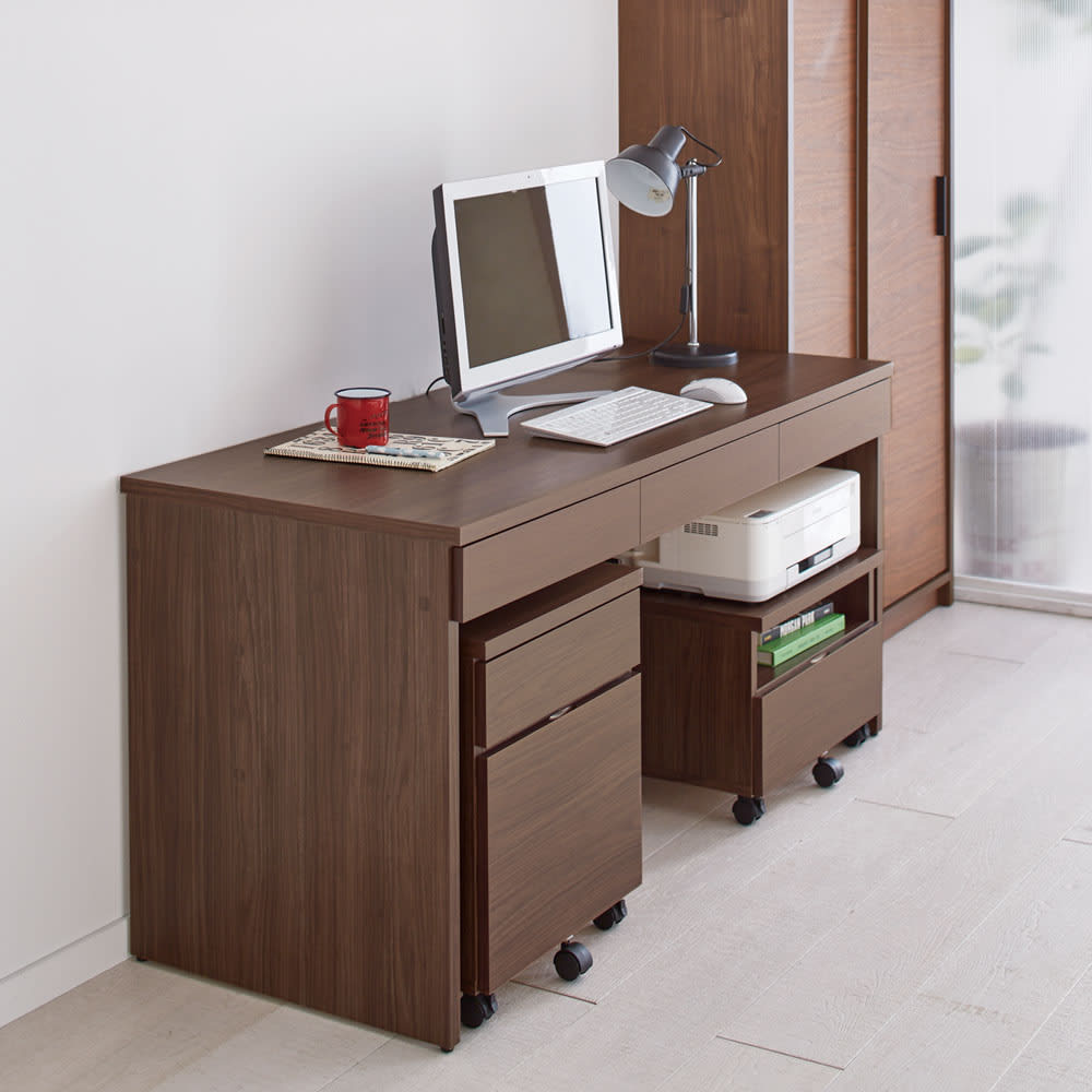 奥行選べるデスクシリーズ デスク 幅150cm・奥行60cm (ア)ブラウン 書斎にはマウスも広々使える奥行60cm。