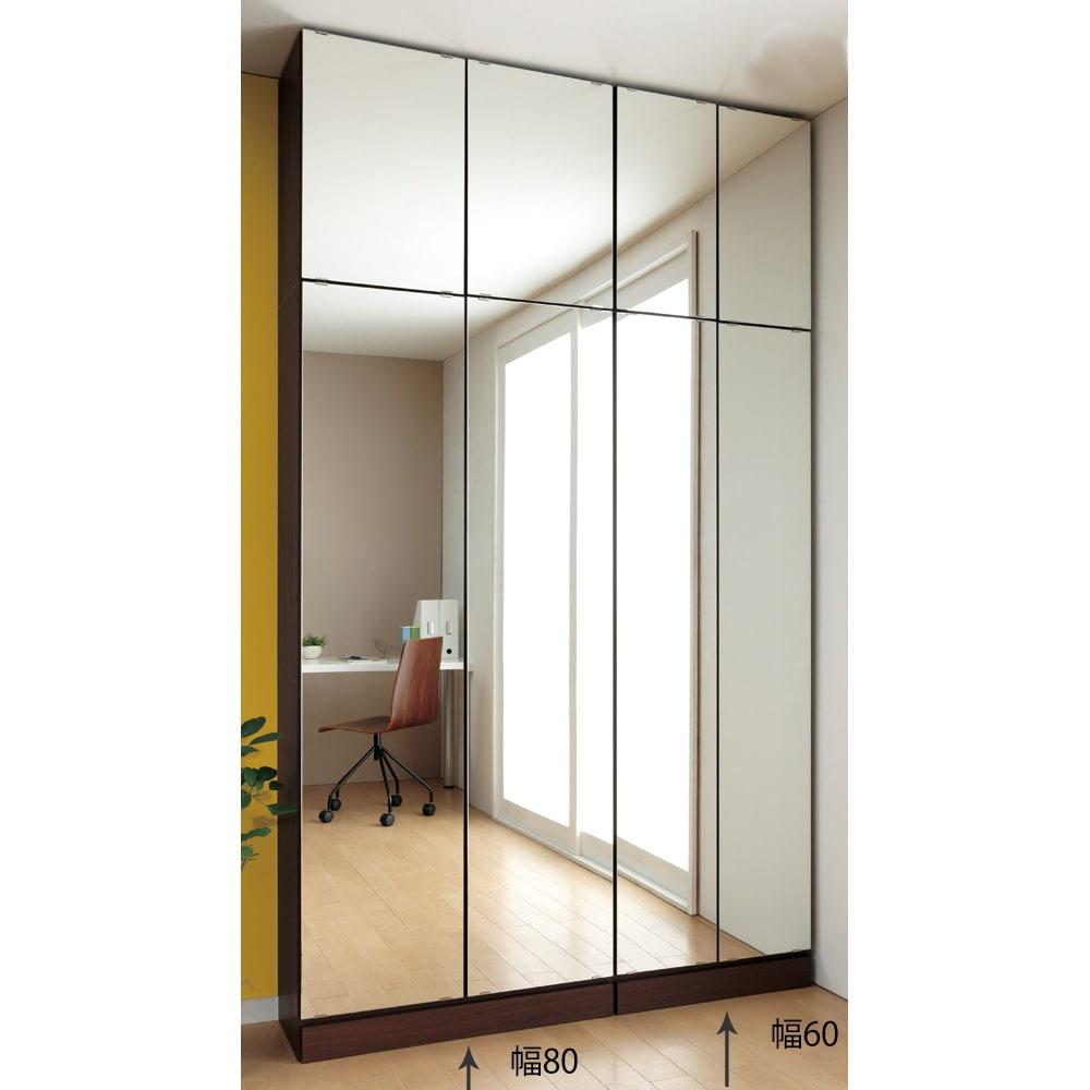 工夫満載!壁面書棚(本棚)幅60奥行31リフォームユニット 幅60cm奥行31cm高さ180cm ≪組合せ例≫ ※写真は、本体と上置きの組合せです。(左)幅80cm、(右)幅60cmタイプです。