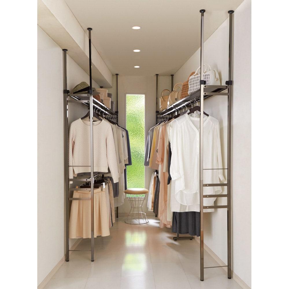 家具 収納 衣類収納 パイプハンガー 奥行30cm 光沢ブラッククローゼットハンガーラック ロータイプ・幅140~250cm 572916