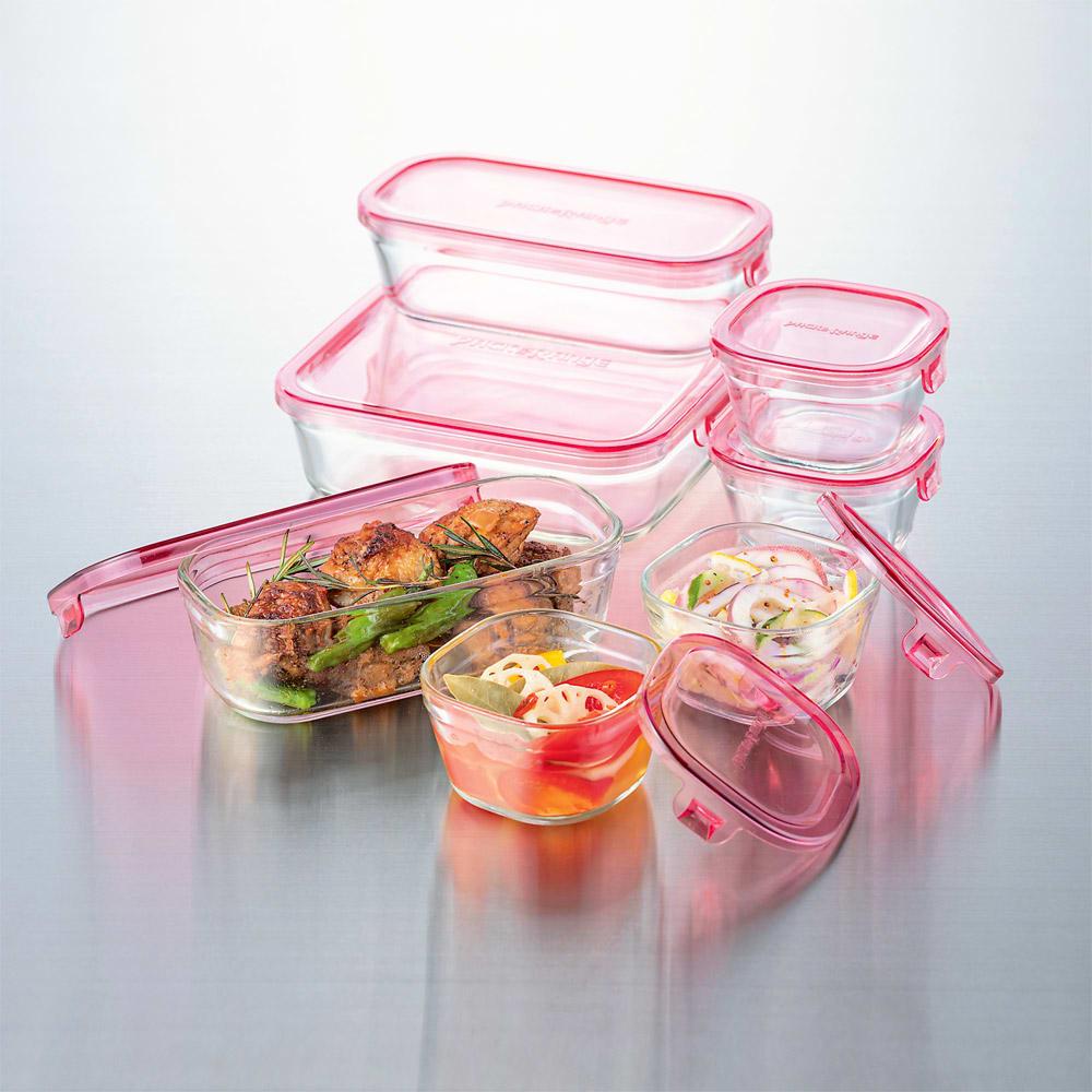 イワキ 耐熱ガラスパック&レンジシステム 7点セット オーブン・レンジ加熱、冷凍保存も可能。