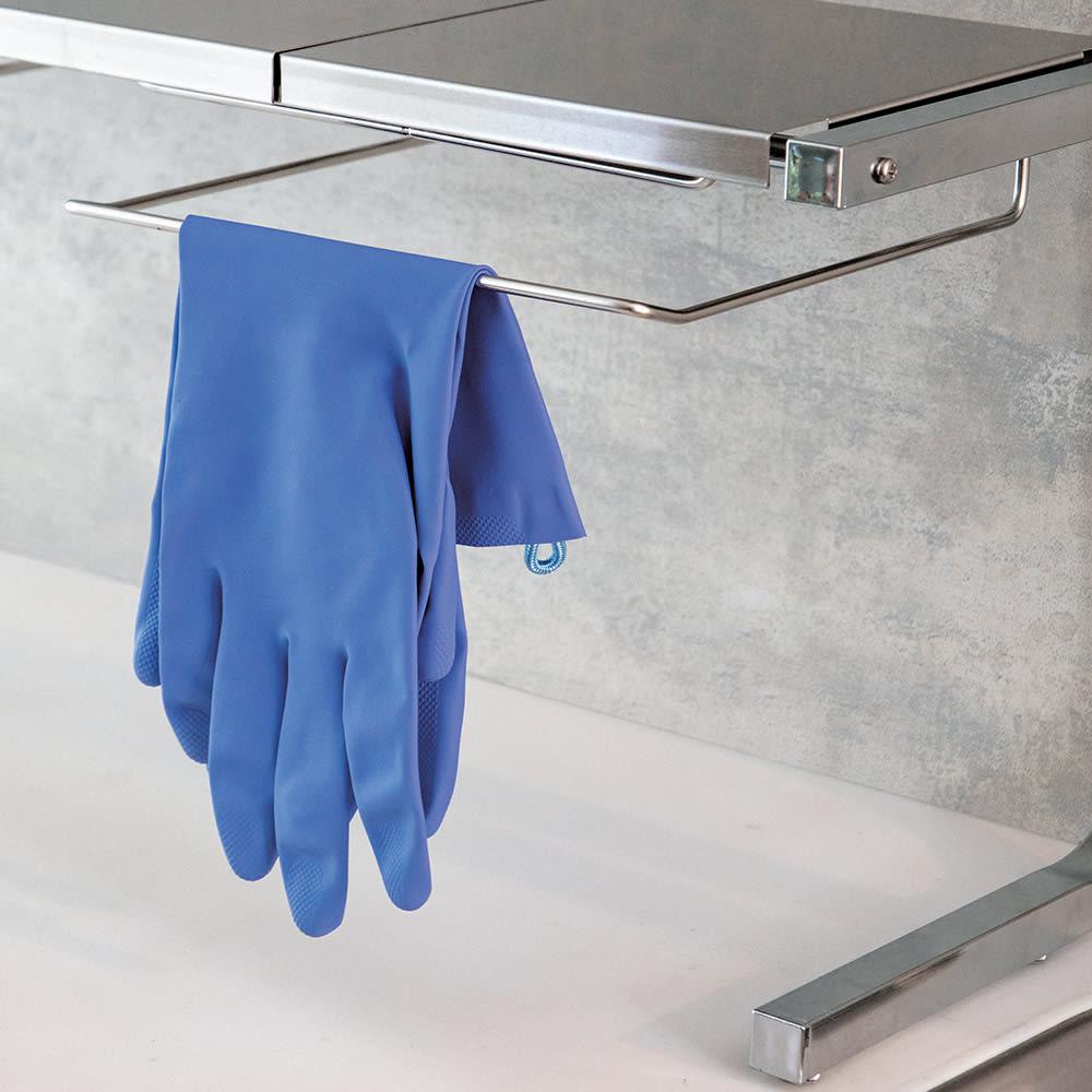 伸縮式ステンレス棚 どこでもサポートラック 1段デラックス まな板ラックは手袋ハンガーにも。