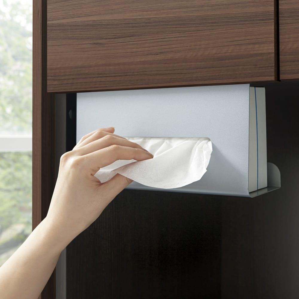 吊り戸棚下ティッシュボックスハンガー (イ)シルバー 手を伸ばせば、サッとラクに使えます。