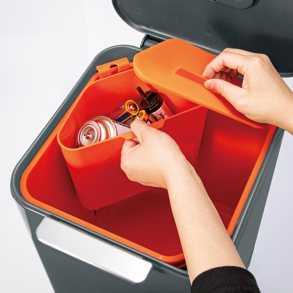 ジョセフジョセフ トーテムコンパクト 容量60L 付属の三角コーナーは取り外し可。電池などの収集にも。