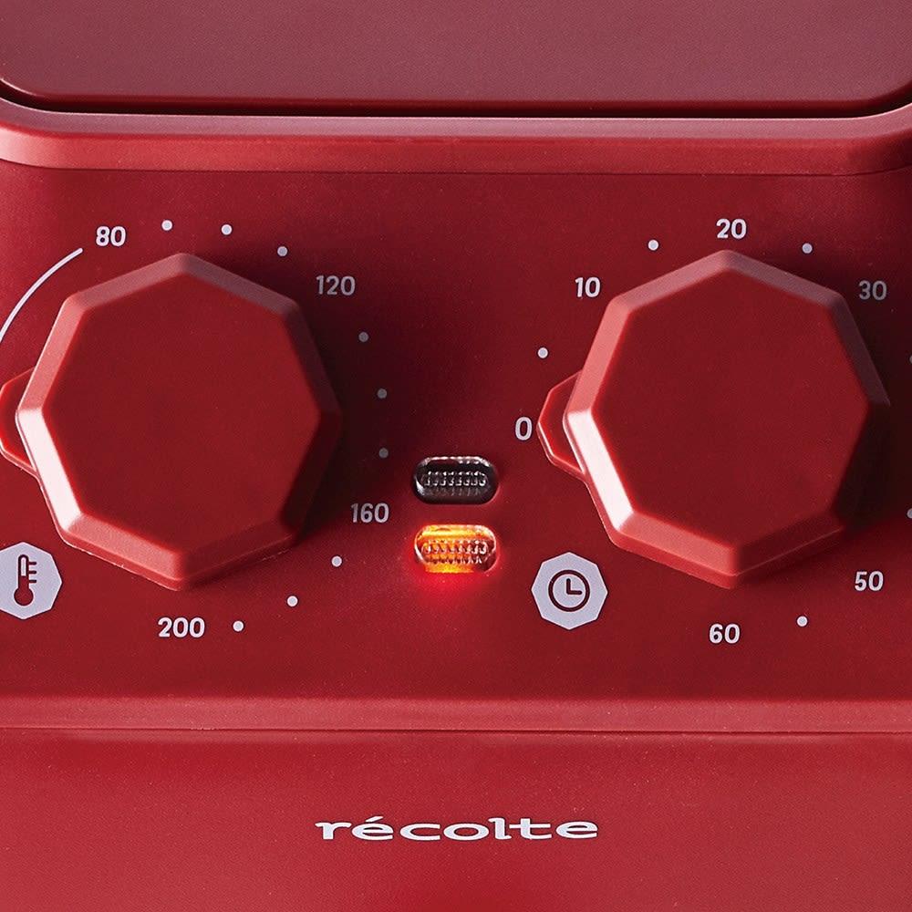 recolte エアーオーブン 温度とタイマーは上部でセットできます。