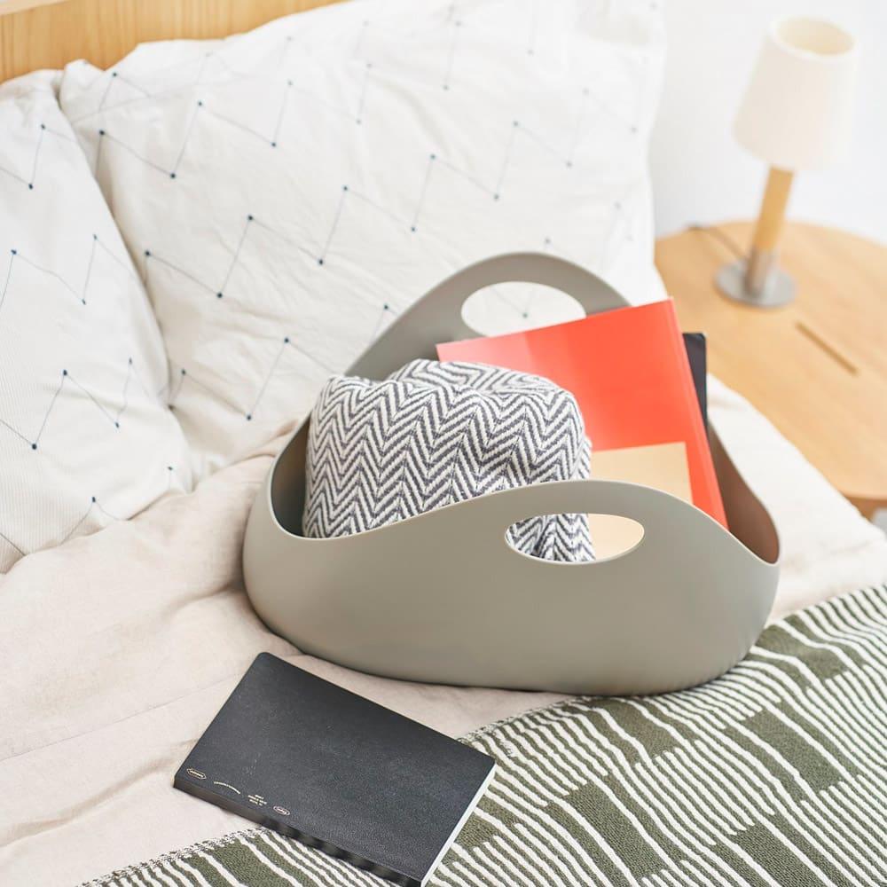 ENOTS/エノッツ インテリアバッグ バスケット 同色2個セット (イ)グレー ベッドルームやリビングのマガジンラックに。