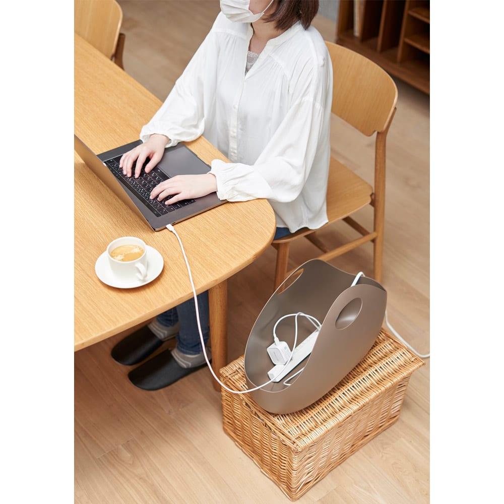 ENOTS/エノッツ インテリアバッグ バスケット 同色2個セット (ウ)ブラウン テレワーク、在宅ワーク用品の収納に。