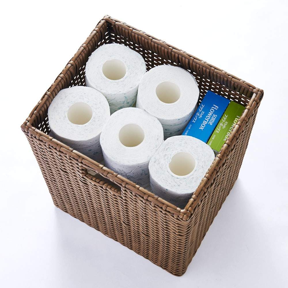 ラタン風ランドリーチェスト ワイド3段(幅74・奥行34.5・高さ80cm) トイレットペーパーやティッシュの買い置きを収納しても◎
