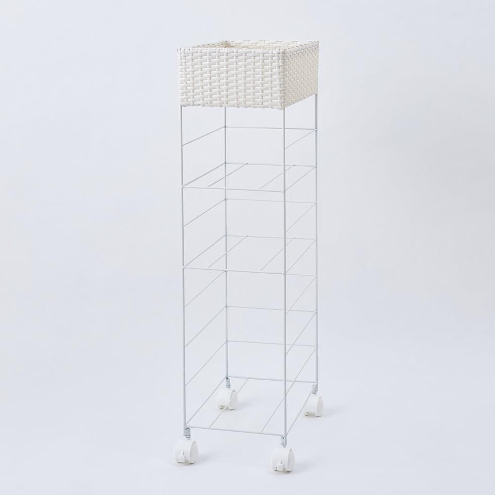 ラタン風ランドリーチェスト すき間幅29 トール4段(幅29・奥行44.5cm・高さ100cm) (イ)ホワイト フレーム