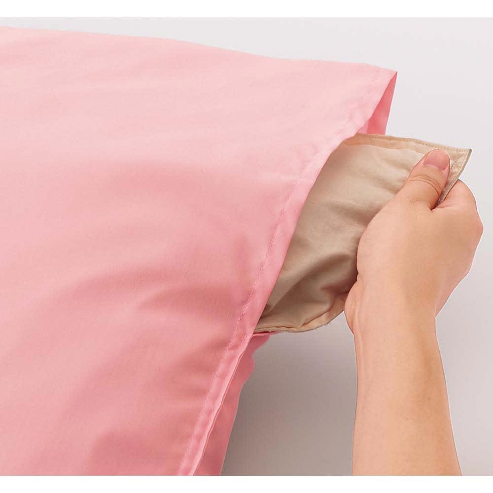 衿元だけ洗える!襟カバー(同色2枚組) 着脱簡単スリット この部分に手を入れてサッと着脱できます。