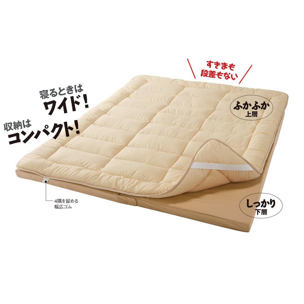 抗菌コンパクト&ワイド ファミリー布団 ベーシック 幅240cm(3~4人用)(上層パッド+下層マットセット) 寝るときはワイド! 収納はコンパクト! すきまも段差もない ふかふか上層 しっかり下層 4隅を留める幅広ゴム