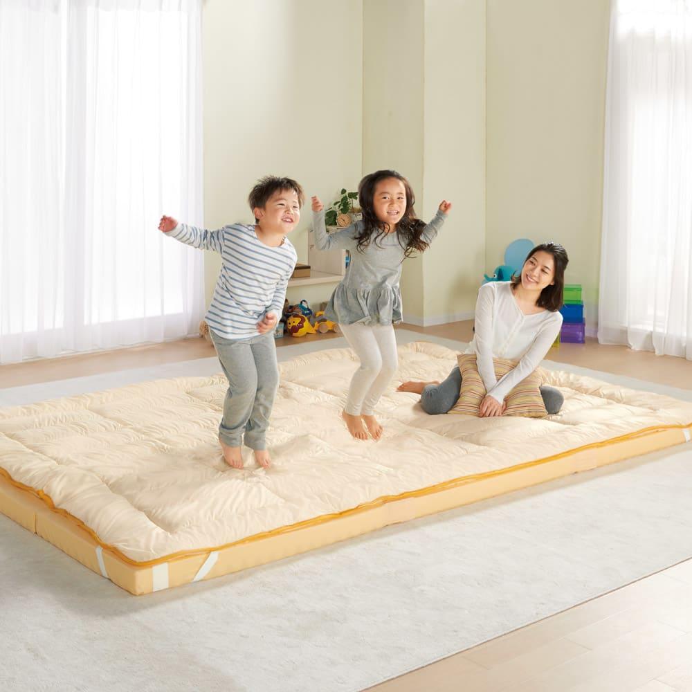防ダニ高硬度コンパクト&ワイド ファミリー布団 ハッピー (上層パッド+下層ウレタンマットセット) ホコリやダニに強いハッピーだから、子供たちも安心。 (イ)イエロー