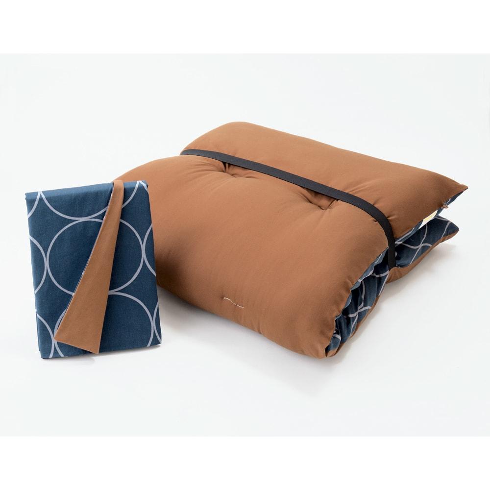 寝心地こだわりごろ寝布団 洗える専用カバー付きセット (イ)ネイビーXブラウン 専用カバー付きセット ゴムバンド付き