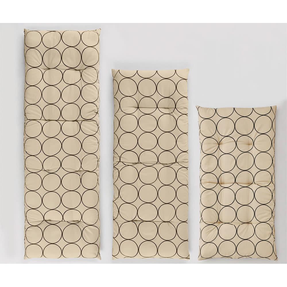 寝心地こだわりごろ寝布団 洗える専用カバー付きセット (ア)アイボリーXブラウン 左から、200cmタイプ、160cmタイプ、130cmタイプ
